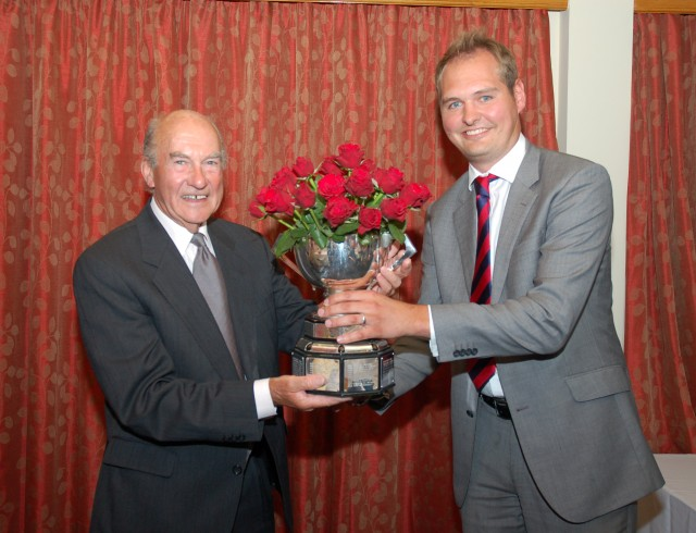 Alan Braime presents the Braime Rose Bowl Trophy to Kevin Hegarty